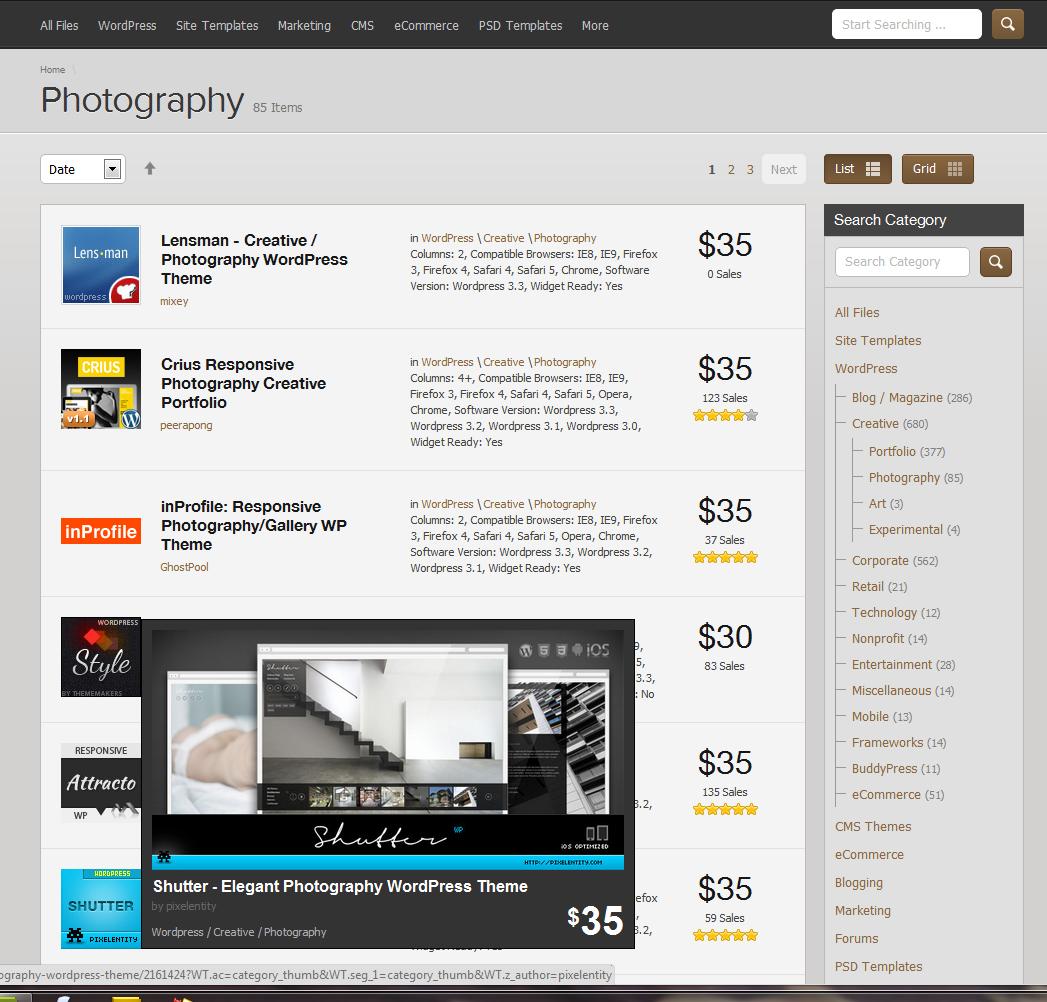 screen capture from ThemeForest.net - WordPress - Photography Templates